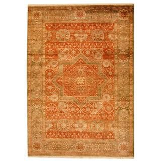 Herat Oriental Indo Hand-knotted Mahal Orange/ Green Wool Rug (6' x 8'10)