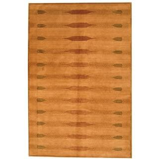 Herat Oriental Tibetan Hand-knotted Vegetable Dye Gold/ Green Wool Rug (6' x 8'9)