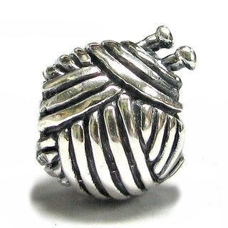 Queenberry Sterling Silver Knitting Wool Ball European Bead Charm