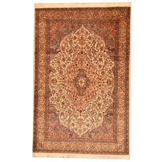 Herat Oriental Pak Persian Hand-knotted Tabriz Beige/ Blue Wool Rug (6' x 9')