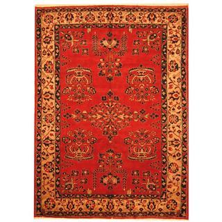 Herat Oriental Indo Hand-knotted Sarouk Red/ Beige Wool Rug (6'10 x 9'5)
