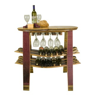 Barrel Head Table/Rack with Glass Sliders