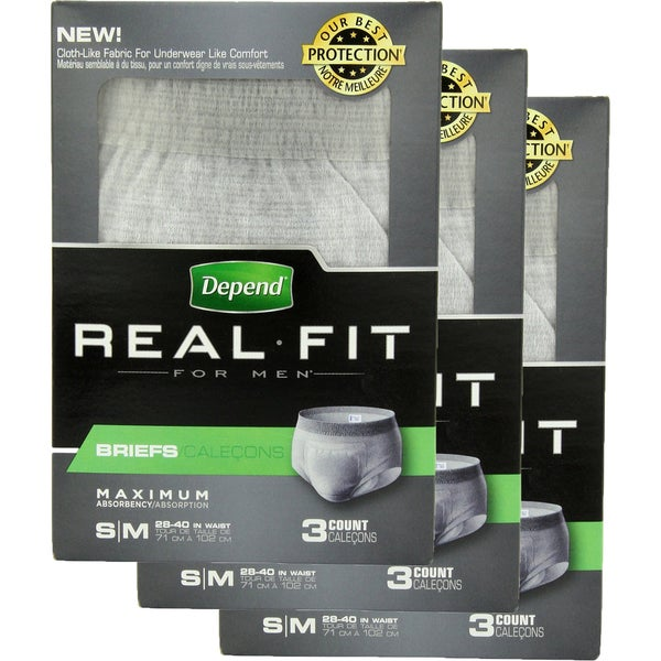 Depend Real Fit for Men Small/ Medium Briefs 3 Count (Pack of 3)