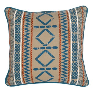 Teal Ikat Embroidered 20-inch Feather and Down Filled Decorative Pillow