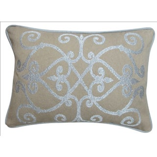 Heritage Silver Feather and Down Filled Decorative Pillow