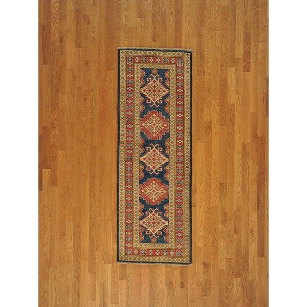 Runner Handmade Denim Blue Kazakh Oriental Area Rug (2'8 x 7'8)