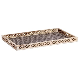 Mela Artisans Ikat Design Mango Wood Extra Large Tray , Handmade in India