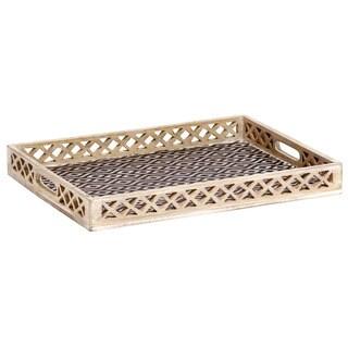 Mela Artisans Ikat Design Mango Wood Large Tray (India)