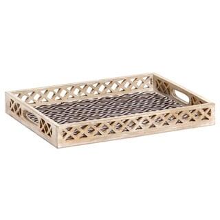 Mela Artisans Ikat Design Mango Wood Medium Tray (India)