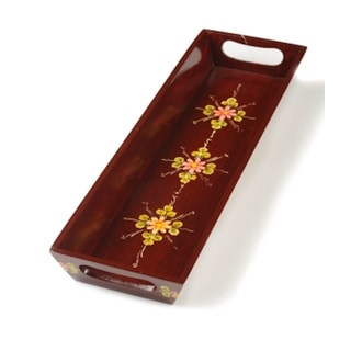 Mela Artisans Tradional Sawantwadi Lacquerware Serving Tray with Hand Painted Rosettes (India)