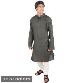 Indian Clothing Men's Fitted Long Kurta Tunic Banded Collar Embellished Placket Shirt Set