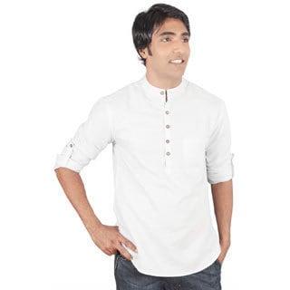 Indian Clothing Men's Short Kurta Tunic Banded Collar Solid Color Shirt