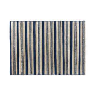 Mela Artisans Blue and Brown Stripe Banana Fiber Placemat (India)