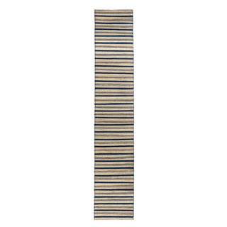 Mela Artisans Blue and Brown Stripe Banana Fiber Runner (India)