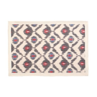 Mela Artisans Cotton Red and Cream Ikat Placemat (India)