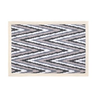 Mela Artisans Cotton Grey and Cream Chevron Placemat (India)