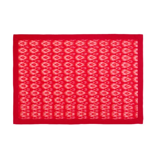 Mela Artisans Hand-stitched Cotton Red Placemat (India)
