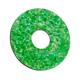 Mela Artisans Mosiac Design Green-dyed Bone Round Photo Frame (India)