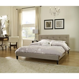 Sleep Sync Pocono Taupe Upholstered Platform Bed Complete