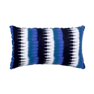 Mela Artisans Black, Blue and White Cotton Pillow, Small (India)