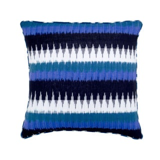 Mela Artisans Large Black/ Blue/ White Cotton Decorative Pillow (India)