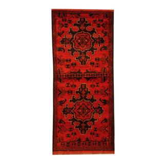 Herat Oriental Afghan Hand-knotted Tribal Khal Mohammadi Red/ Black Wool Rug (2' x 4'7)