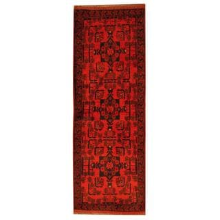 Herat Oriental Afghan Hand-knotted Tribal Khal Mohammadi Red/ Black Wool Rug (1'9 x 4'10)