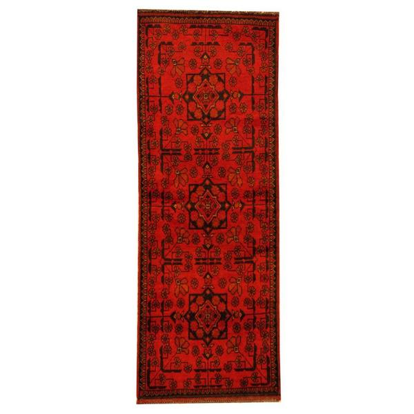 Herat Oriental Afghan Hand-knotted Tribal Khal Mohammadi Red/ Black Wool Rug (1'10 x 4'10)