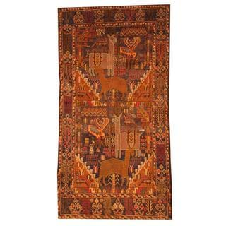 Herat Oriental Afghan Hand-knotted Tribal Semi-antique Balouchi Blue/ Navy Wool Rug (3'6 x 6'10)