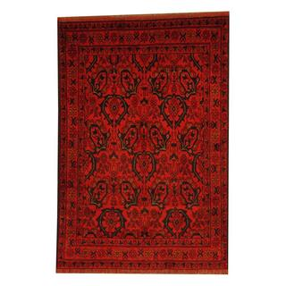 Herat Oriental Afghan Hand-knotted Tribal Khal Mohammadi Red/ Black Wool Rug (3'3 x 4'10)