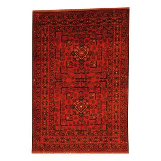 Herat Oriental Afghan Hand-knotted Tribal Khal Mohammadi Rust/ Black Wool Rug (3'4 x 4'10)
