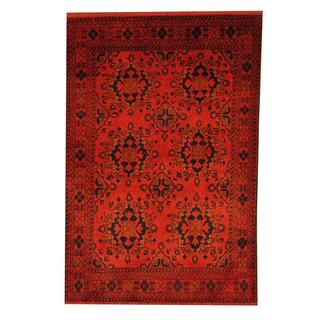 Herat Oriental Afghan Hand-knotted Tribal Khal Mohammadi Rust/ Navy Wool Rug (3'4 x 5')