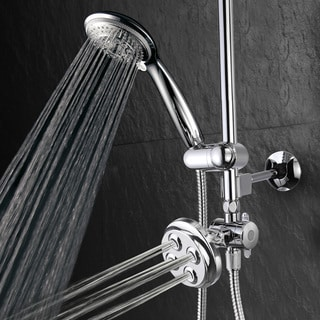 TotalSpa 3-in-1 Drill-free Height/ Angle/ Tilt Adjustable Hand Shower Slide Bar with Body Jets