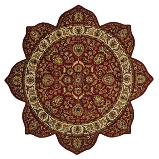 Hand-knotted Star Design Thick And Plush Rajasthan Oriental Wool Rug (2' x 2')