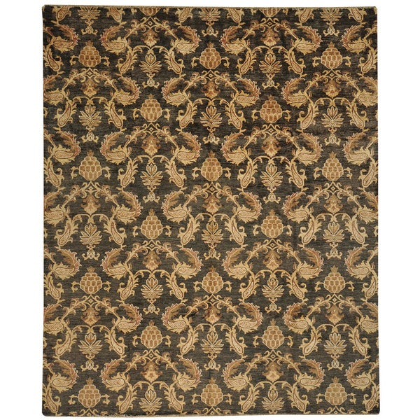 No Border Charcoal Black Fine Peshawar Wool Rug (8'1 x 9'10)