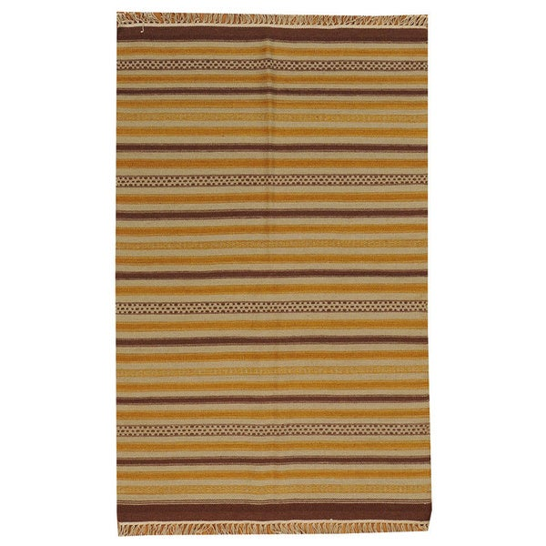 Hand-woven Striped Durie Kilim Multi Oriental Wool Rug (3'10 x 6')