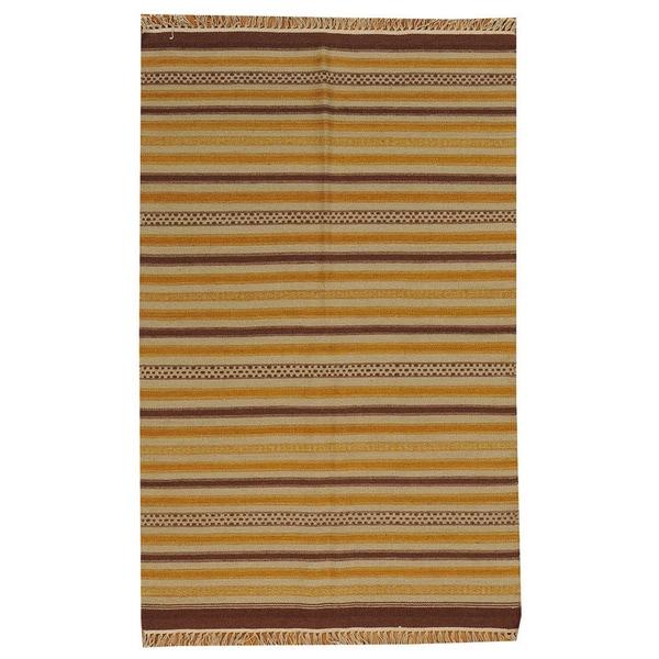 Hand-woven Striped Durie Kilim Multi Oriental Wool Rug (3'10 x 6')