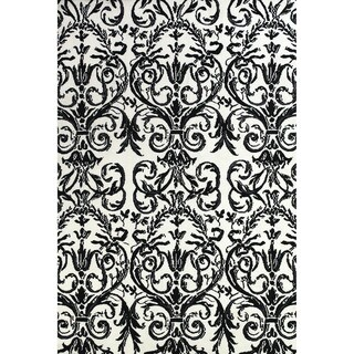"Grand Bazaar Power Loomed Polyester Pia Rug in Ebony / White 9'-6"" x 13'-6"""