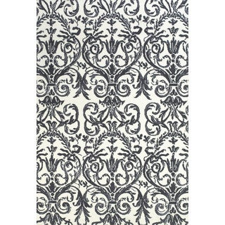 Pia Slate White Floral Area Rug (9'6 x 13'6)