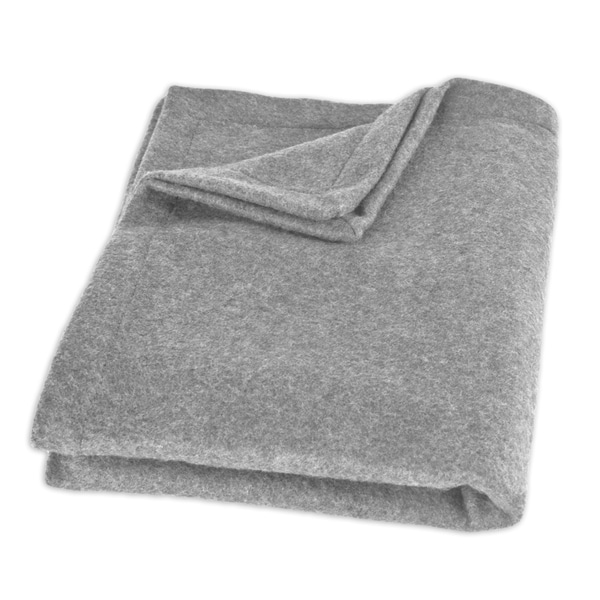 Fleece Light Grey Top Stitched Throw Blanket