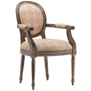 Prinia Walnut Glaze Medallion Pattern Accent Chair