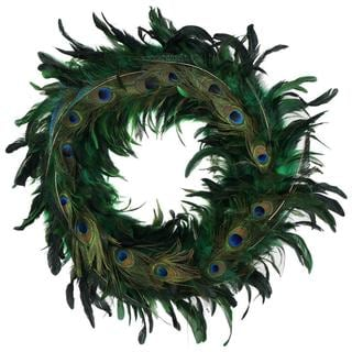 Handmade 24-inch Elegant Feather Holiday Wreath