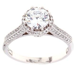 Tacori Platinum 1/3ct TDW Cubic Zirconia and Diamond Engagement Ring (G-H, VS1-VS2)