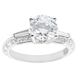 Tacori Platinum 1/4ct TDW Cubic Zirconia and Diamond Engagement Ring (G-H, VS1-VS2)