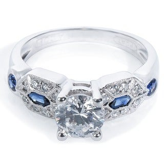 Tacori Platinum 1/3 TDW Cubic Zirconia, Sapphire, and Diamond Engagement Ring (G-H, VS1-VS2)