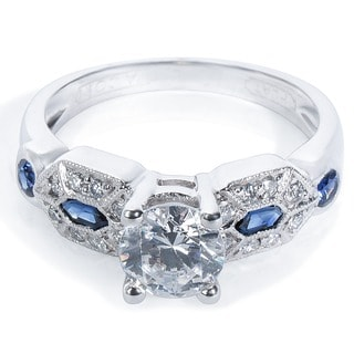 Tacori Platinum 1/3 TDW Cubic Zirconia, Sapphire, and Diamond Engagement Ring (G-H, VS1-VS2)
