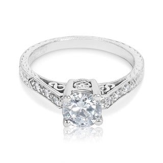 Tacori Platinum 1/10 ct TDW Diamond Engagement Ring Setting with 6 mm Round CZ Center (G-H, VS1-VS2)