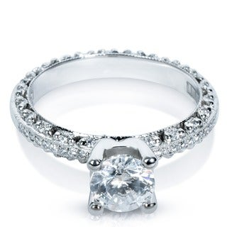 Tacori Platinum 1/4ct TDW Diamond and CZ Center Semi Mount Engagement Ring (G-H, VS1-VS2)