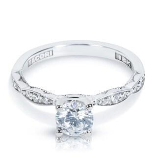 Tacori 18k White Gold 1/6ct Diamond and Cubic Zirconia Engagement Ring (G-H, VS1-VS2)