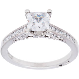 Tacori 18k White Gold 1/3ct TDW Cubic Zirconia and Diamond Engagement Ring (G-H, VS1-VS2)